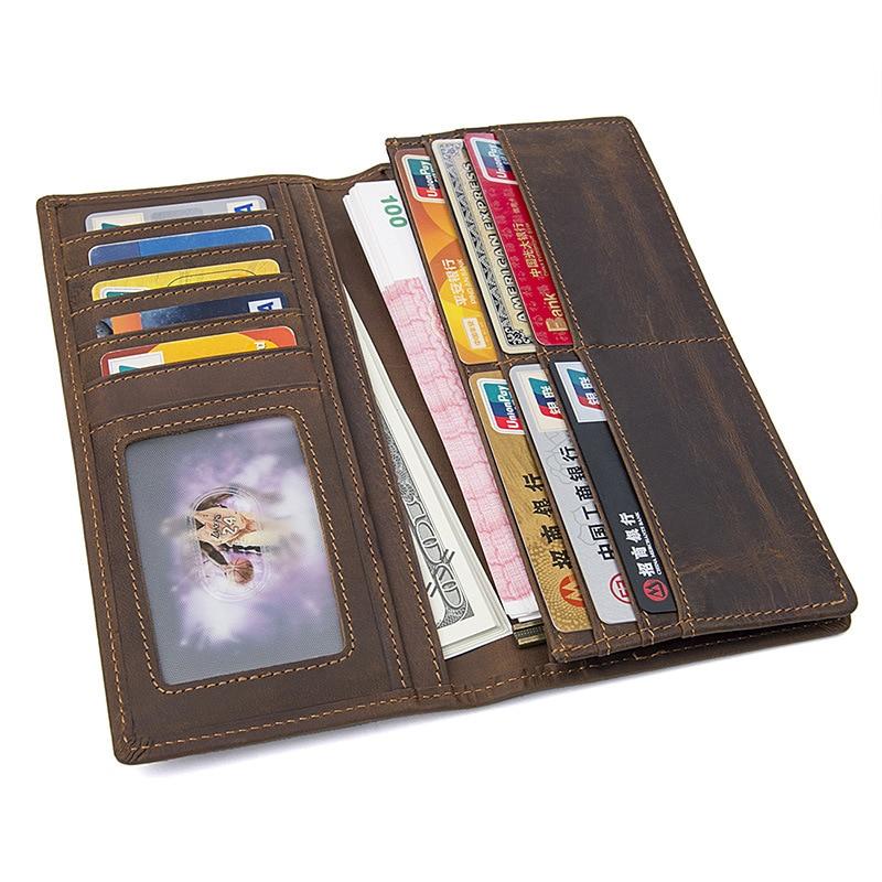 Maheu estilo vintage carteira de couro dos homens masculino longo bolsa bifold cartão carteira natural da pele de vaca bolsa de couro para iphone