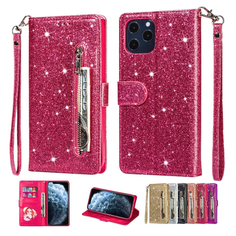 Glitter Zipper Leaher Case for IPhone 11 12 Pro Max XR XS SE 2020 6 7 8 Plus Flip Wallet Cover Card Solt Bling Protection Fundas