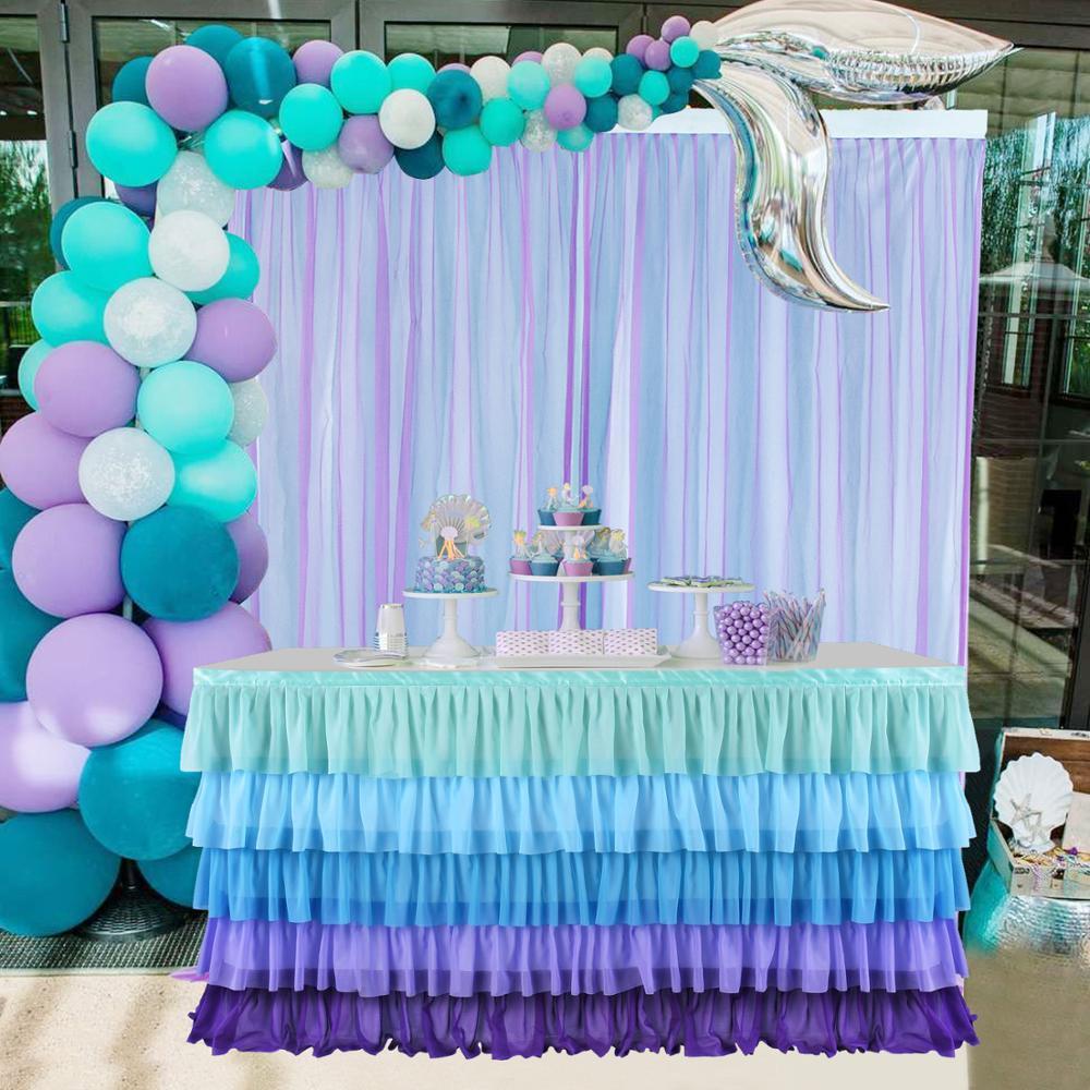 Tutú de tul, falda, mantel, 5 niveles, decoración de servicio de mesa de sirena pequeña, decoración de fiesta de cumpleaños y de boda