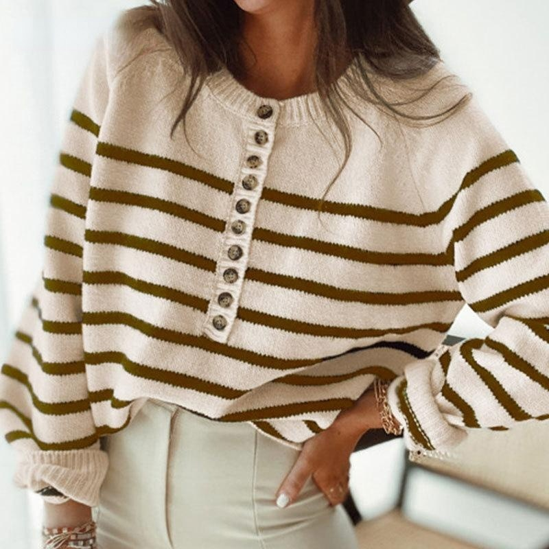 spring and autumn v neck single breasted knit dress multicolor temperament striped sweater dress long sleeve woman sweaters 2021 Autumn New O Neck Loose Striped Knit Sweaters Women Fashion Single-Breasted Pullover Casual Button Long Sleeve Sweater