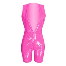 Women Jumpsuit Romper Bodycon Playsuit Shiny Wetlook PU Faux Leather Playsuits Shorts Party Clubwear