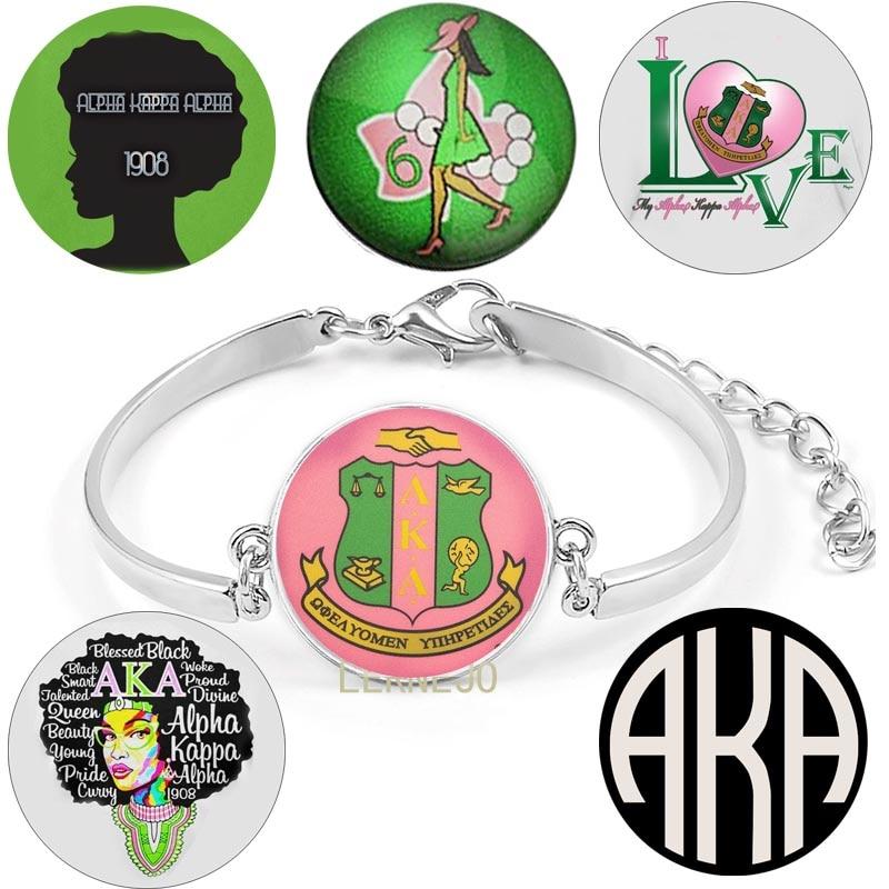 AKA Alpha Kappa hermandad alfa Logo pulsera de Metal PSI letra griega brazalete arte diseño de foto encanto ajustable pulsera