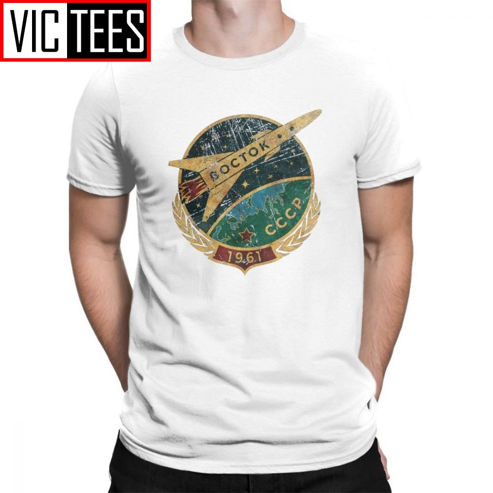CCCP, camisetas para hombres, camiseta rusa Vostok soviética, camisetas de Yuri Gagarin, camisetas para hombre de cuello redondo de algodón puro de alta calidad