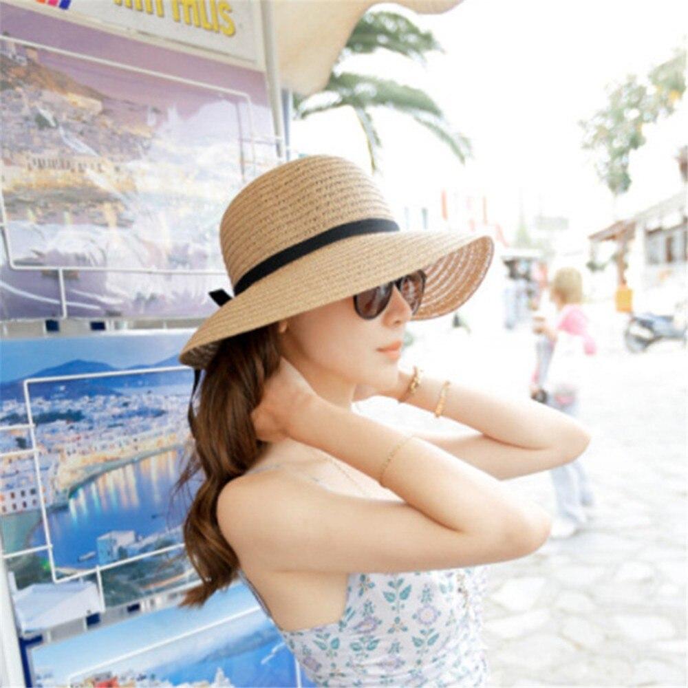 Chapeau dété en paille pliable pour femmes   Chapeau de plage, chapeau Beige à large bord pour femmes
