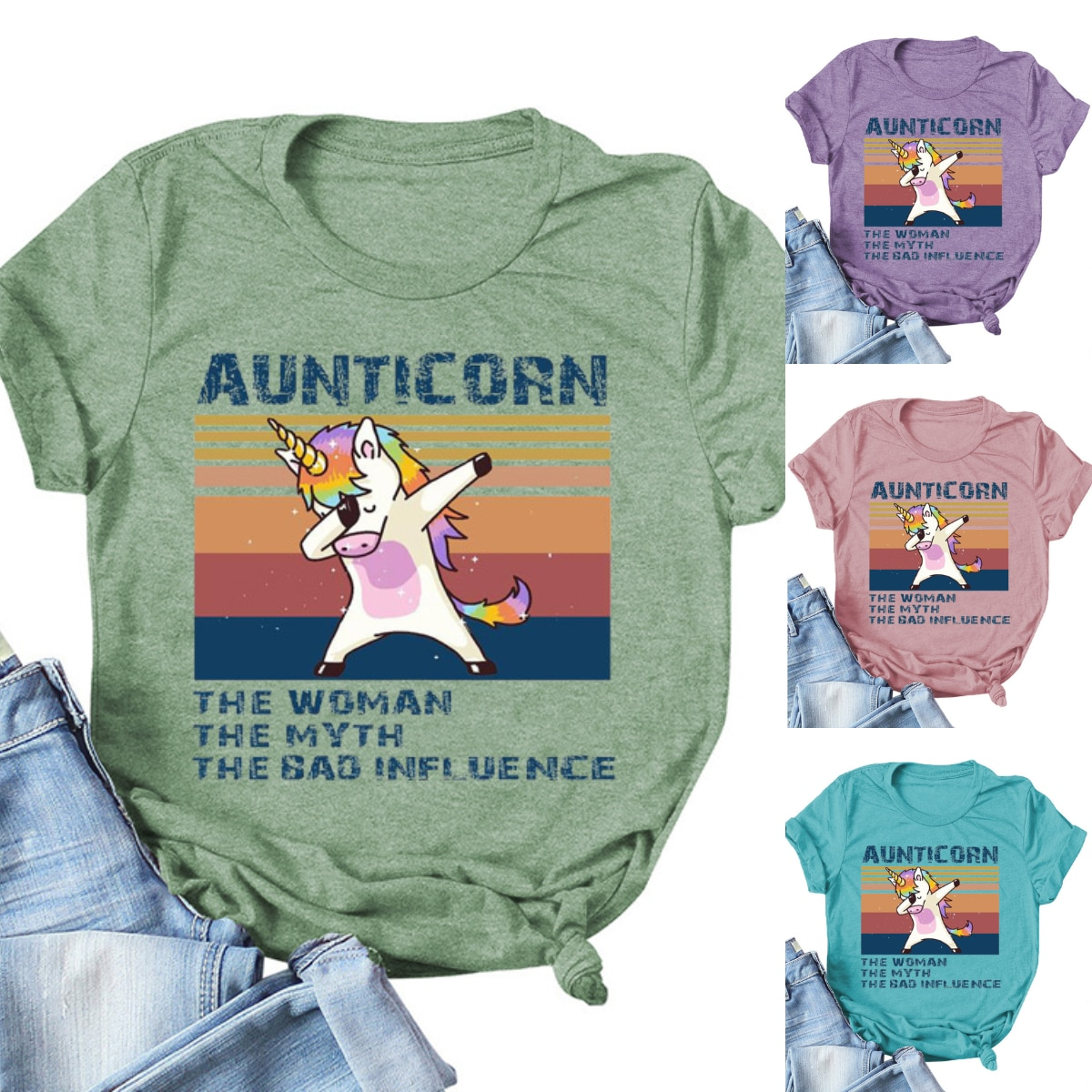 Women's Shirts Aunticorn Print T-Shirt Color Unicorn Graphic Short Sleeve Tee Round Neck Plus Size