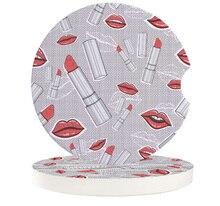 Lipstick Lip Print Car Drink Coaster Table Placemats Creative Coffee Mug Cup Ceramics Coasters Pads Table Mats
