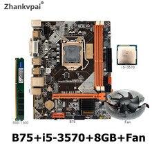 B75 LGA 1155 Placa base con Intel Core i5-3570 CPU 1 Uds * 8GB 1600MHz DDR3 + ventilador de escritorio memoria SATA III USB 3,0 VGA HDMI