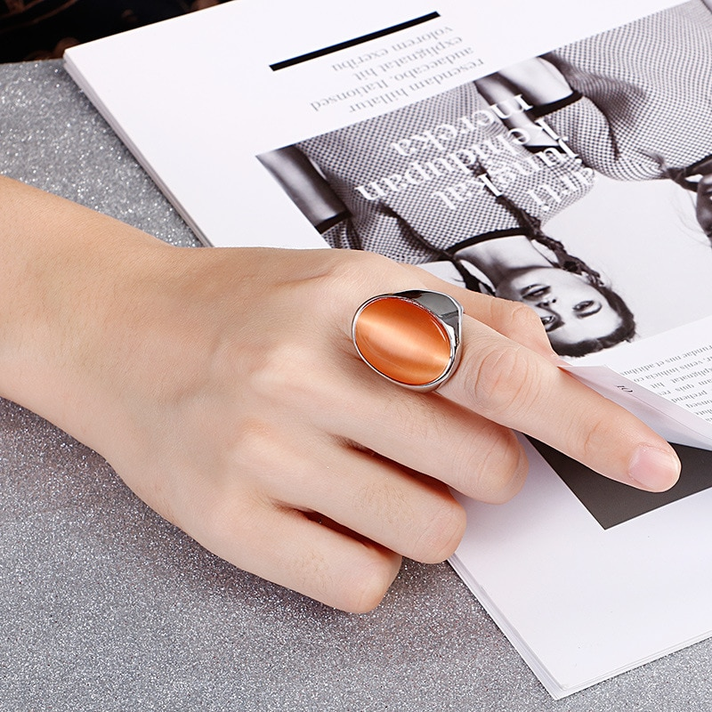 Luxury Opal Top Grade Titanium Steel Rings Accessories Jewel Ring Fashion Jewelry Lover Valentine Lovers Couples Party Gifts