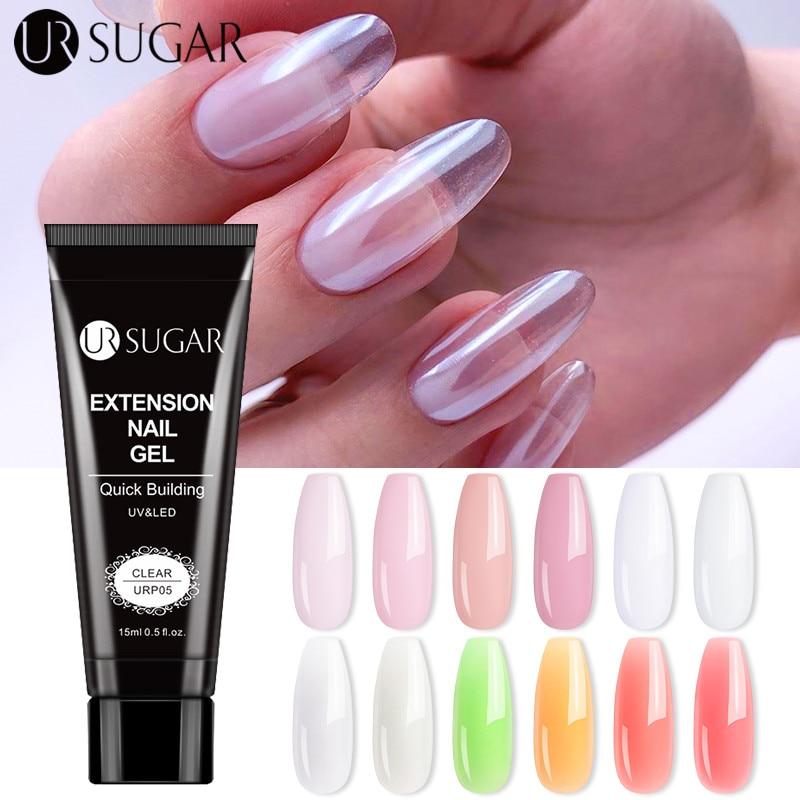 Azúcar UR 15ml Poly Nail extensiones Gel Glitter Builder UV Gel manicura uñas arte diseño luminoso Poly uñas Gel Semi permanente