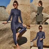 muslim swimwear women modest swimsuit 2pcs patchwork long sleeves sport beach islamic burkinis bathing wear suit