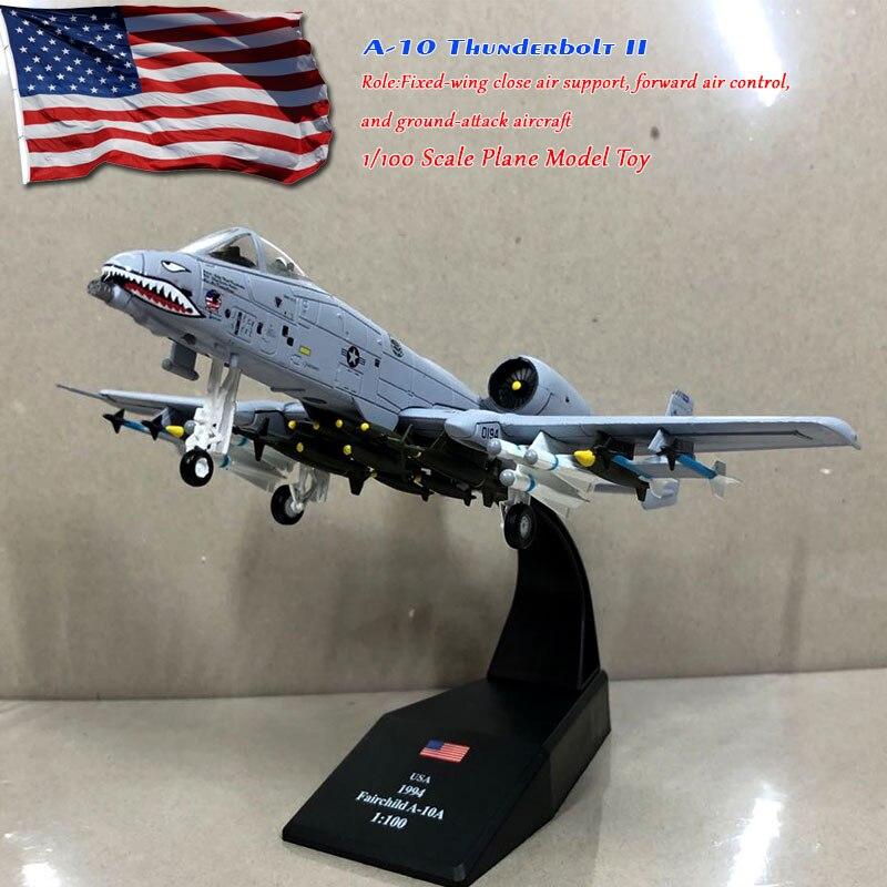 WLTK 1/100 スケール A-10 サンダーボルト II 地上攻撃機 23rd TFW フライングタイガースダイキャストメタル戦闘機モデルのおもちゃギフト