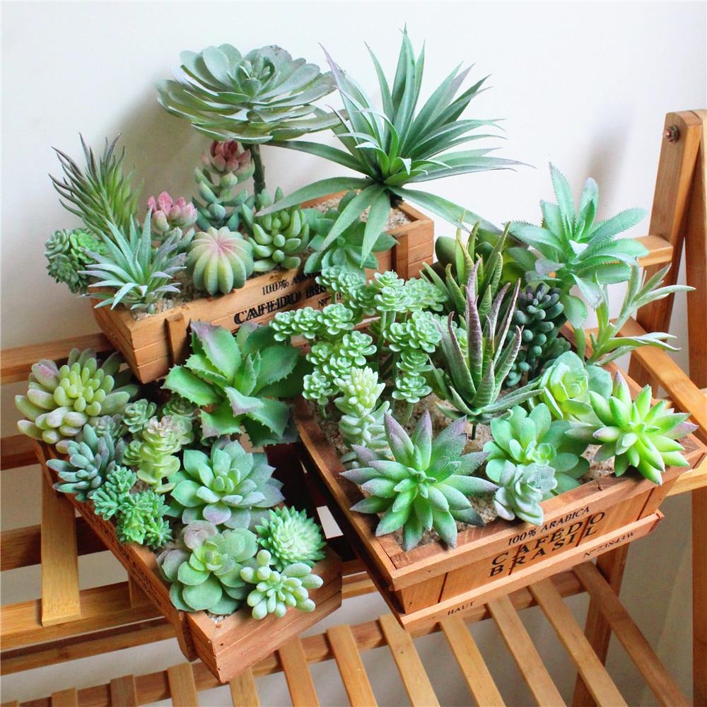 Artificial Succulents Plants Lotus Aloe Flower Arrangement Accessories Fake Plants Home Garden Decoration  Plant Pots Decorative