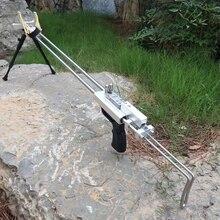 Argento Lupo Fucile Fionda Caccia Catapulta Potente In Acciaio Fionda Per La Caccia Allaperto di Tiro Doppio Dispositivo di Sicurezza di CNC