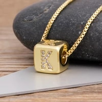 26pcslot hot sale a z initials micro pave copper cz cube letter necklaces for women men charm chain family name jewelry gift