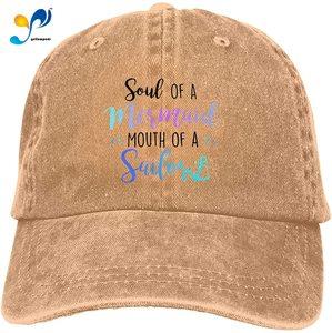 Soul of Mermaid Mouth of Sailor Unisex Soft Casquette Cap Fashion Hat Vintage Adjustable Baseball Caps