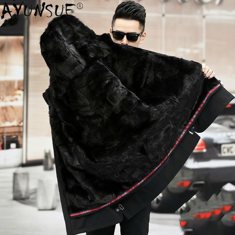Ayunsu الشتاء رجل سترة جاكت مزود بغطاء للرأس للرجال ملابس 100% فرو منك معطف رجالي سميكة 5XL سترة الأرنب الفراء الأكمام Veste XR819