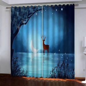 3D Curtain Custom Home Decoration Blackout 3D Window Drapes Stereoscopic Animal scenery Windows Decoration
