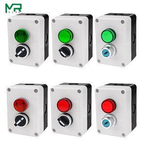 NEW 2 holes start stop self sealing waterproof button switch 220V with indicator light Electrical industry stop switc