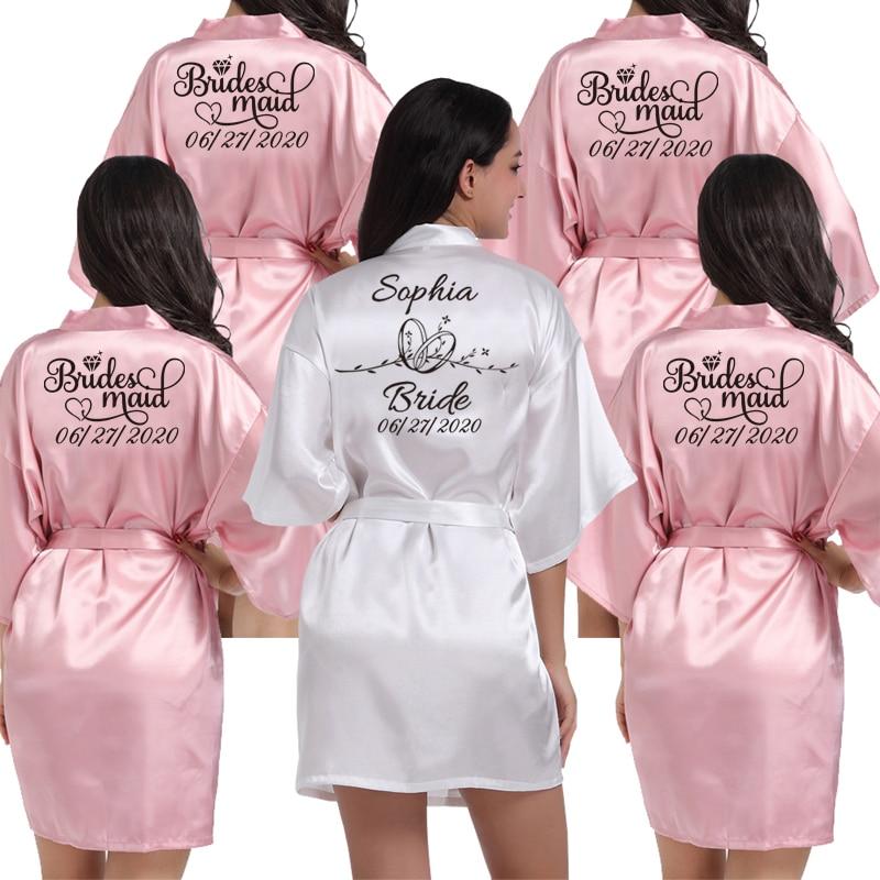 Custom Logo Weddin Date Name Faux Silk Kimono Robe Women Wedding Bride Bridesmaid Robes Bachelorette