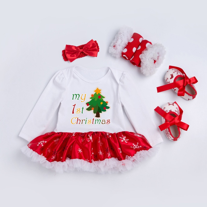 4pcs/set Full Sleeve Infant Dress Winter Girl Casual Clothes Girl Dress Suits With Hair Band Christmas Clothes Festival Decor