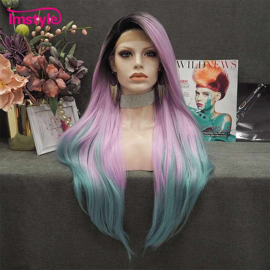 Imstyle Ombre Pink Green Wig Long Straight Synthetic Lace Front Wig Heat Resistant Fiber Black Root Cosplay Wigs For Women