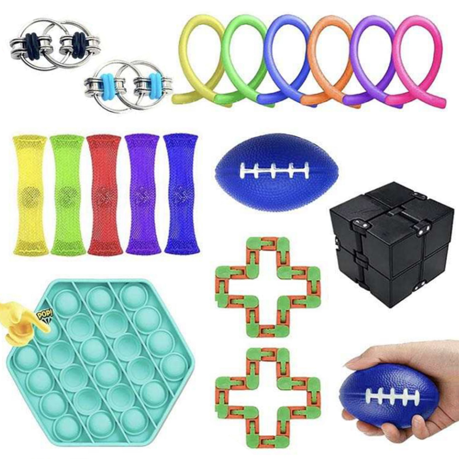 19PCS Sensory Fidget Toys Set Anti Stress Stretchy Strings Gift Pack Adults Kids Squishy Sensory Stress Relief Figet Toys enlarge