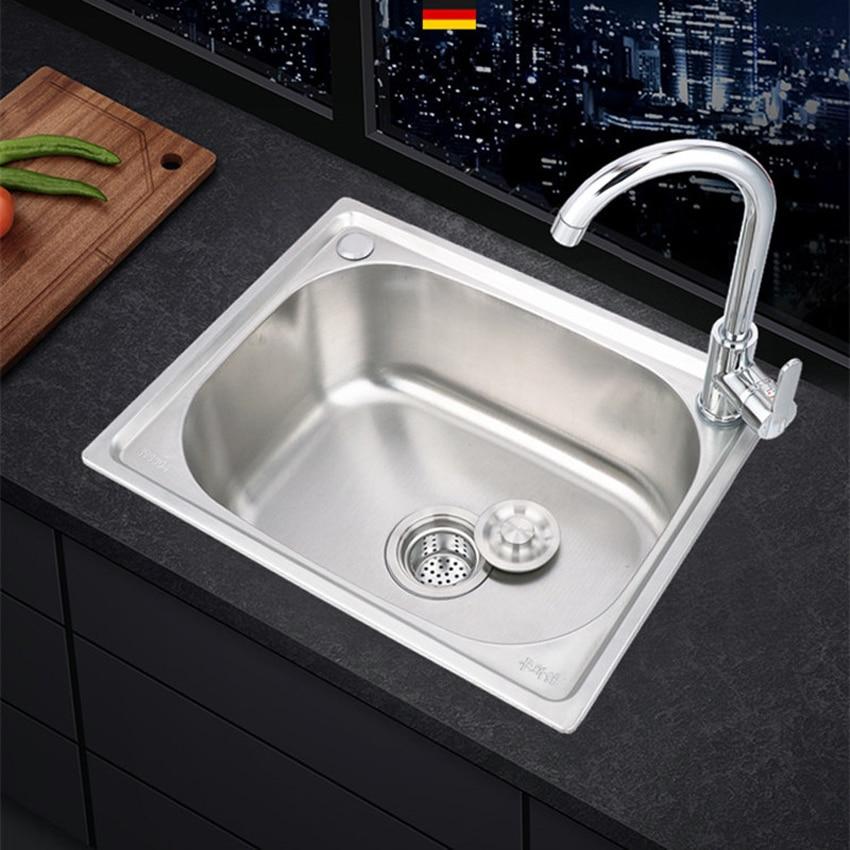 سميكة بالوعة 304 حوض الفولاذ المقاوم للصدأ المطبخ بالوعة حوض بمصرف واحد حوض بالوعة واحدة كبيرة واحدة فتحة مجموعة 37*31/ 42*38 سنتيمتر اختياري