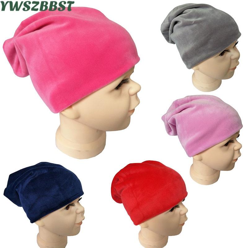 New Plush Winter Scarf Hat for Boys Girls Children Hat Scarf Set Velvet Girl Boy Cap Scarf Autumn Ki