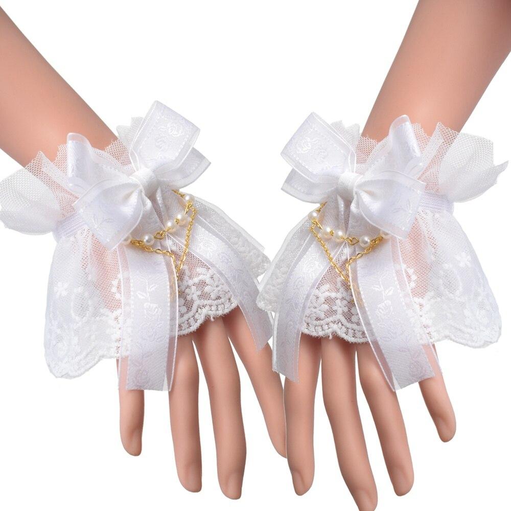 Puños de encaje Lolita, puño de muñeca estilo victoriano con puños Steampunk de tul