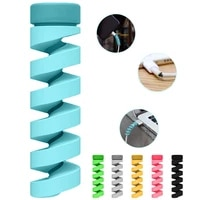 6pcs cable protector bobbin winder data line case rope protection spring twine for iphone android usb earphone cover