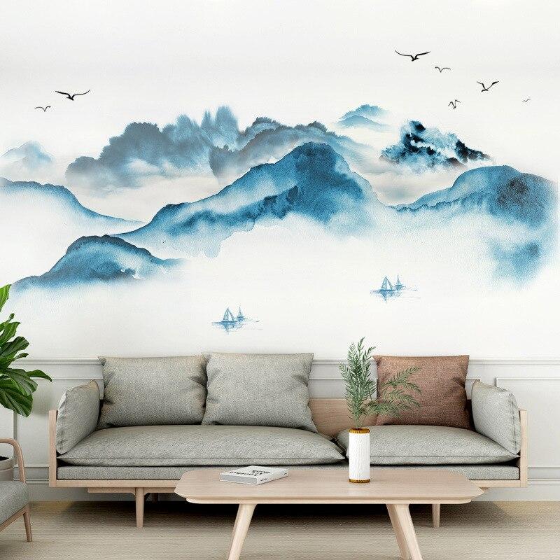 3D Retro Berge Landschaft Home Decor Wand Aufkleber Wand Kunst Abziehbilder Ästhetischen Poster Wohnzimmer Selbst Klebe Tapete