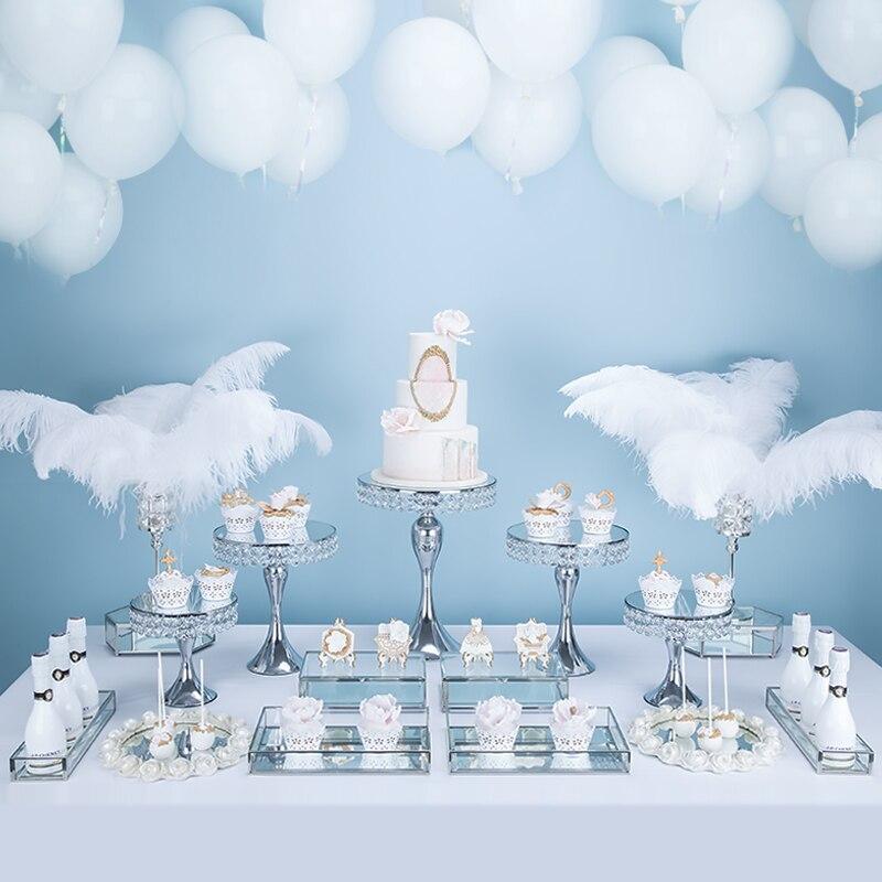 Tobs espejo cristal pastel Stand Set redondo Metal Cupcake postre pantalla Pedestal boda fiesta exhibidor