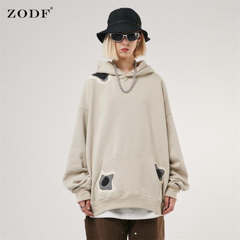 ZODF جديد 2021 الخريف الشتاء الرجال سميكة الصوف الكاكي هوديس فضفاض للجنسين الثقيلة الوزن مقنعين البلوز الشارع الشهير HY0272