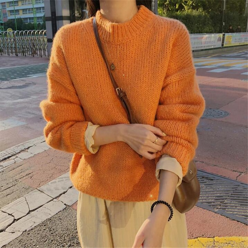 New Sweater Women 2021 Autumn Winter Solid O Neck Pullover Sweaters Korean Style Knitted Long Sleeve Jumpers Casual Tops new summer women tees ladies simple pullover tops korean solid o neck casual slim knitted short sleeve top