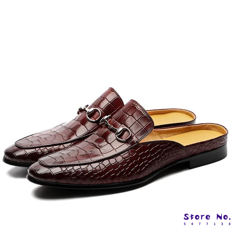 Men pu Leather Shoes Casual Dress Brogue Spring Vintage Classic Male  summer slippers men F85
