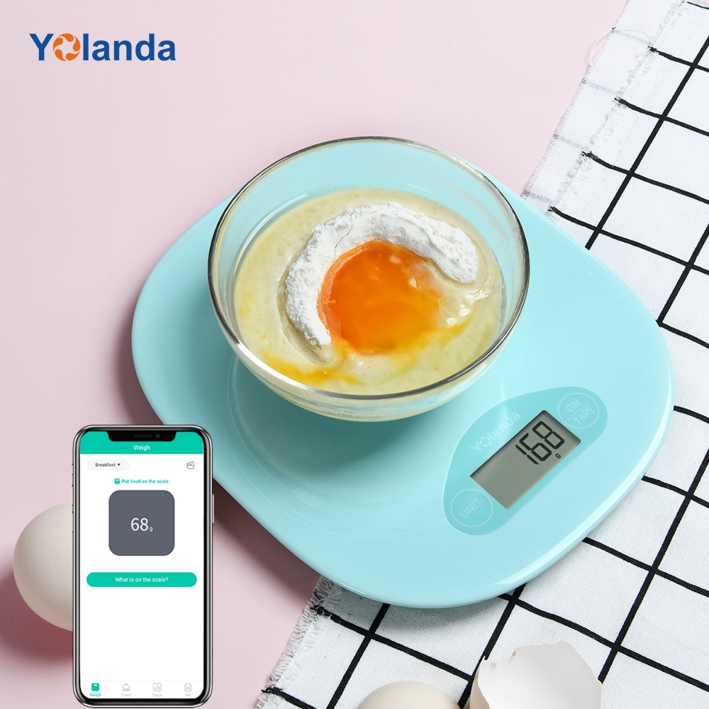 Yolanda-ميزان مطبخ ذكي ، وزن ، 5 كجم ، تغذية ، تطبيق بلوتوث ، سجل ، تتبع مذكرات