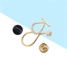 DCARZZ stéthoscope cristal broches or cadeau pour fille médecin broches à la mode bijoux mignon épinglette en métal femmes