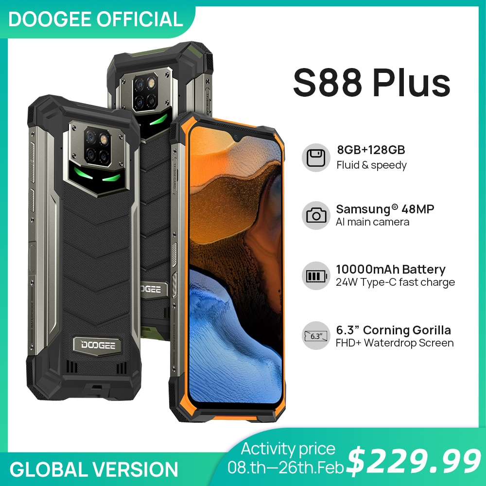 IP68/IP69K DOOGEE S88 Plus Rugged Mobile Phone Global version 48MP Main Camera 8GB RAM 128GB ROM smartphone Android 10 OS