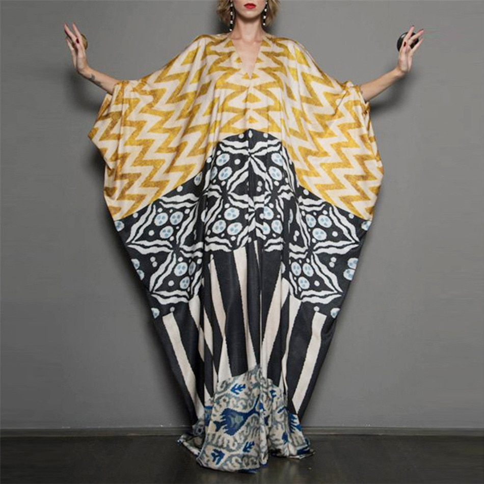 2021 Summer Dress for Women Batwing Sleeve Bohemian V-Neck Maxi Long Dress Casual Vestido Loose Strip Printed Robe платье bohemian round neck long sleeve printed cut out dress for women