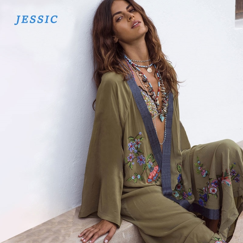 JESSIC Flowers Embroidery Beach Kimono Holiday Army Green Vintage Swimwear Cover-Ups Long Sleeve Autumn 2020 Outer Cover