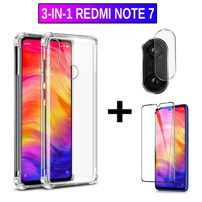 Cristal 3 en 1 para cámara Redmi Note 7, Protector de pantalla de cristal templado Xiomi Redmi Note 7, funda y película de cristal, protector de pantalla note 7