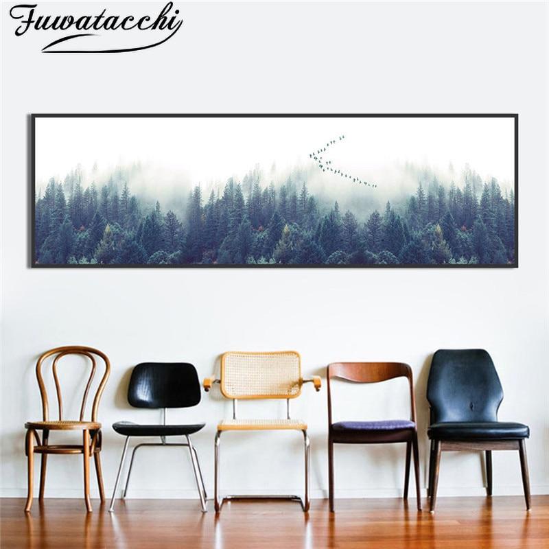 Modernos gansos salvajes volando hacia el sur pintura en lienzo cuadros de arte de pared para sala de estar carteles e impresiones decoración del hogar