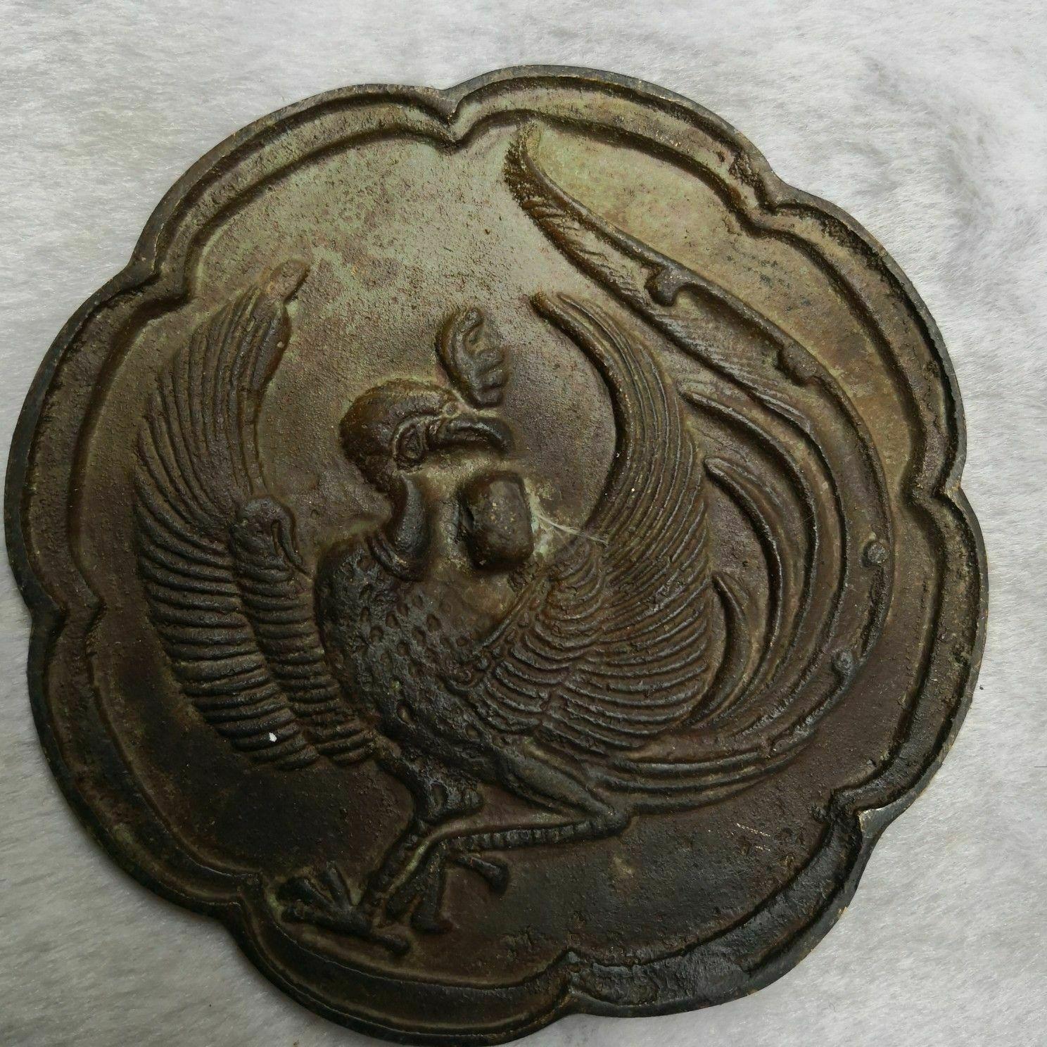 China old Bronze Old Feng Shui Bronze mirror Phoenix mirror
