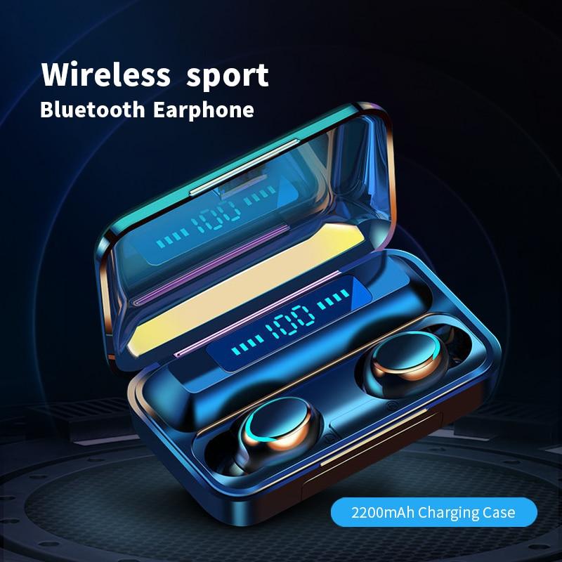 TWS Bluetooth 5.1 Earphones 2200mh Charging Box Wireless Headphone 9D Stereo Sports Waterproof Earbu