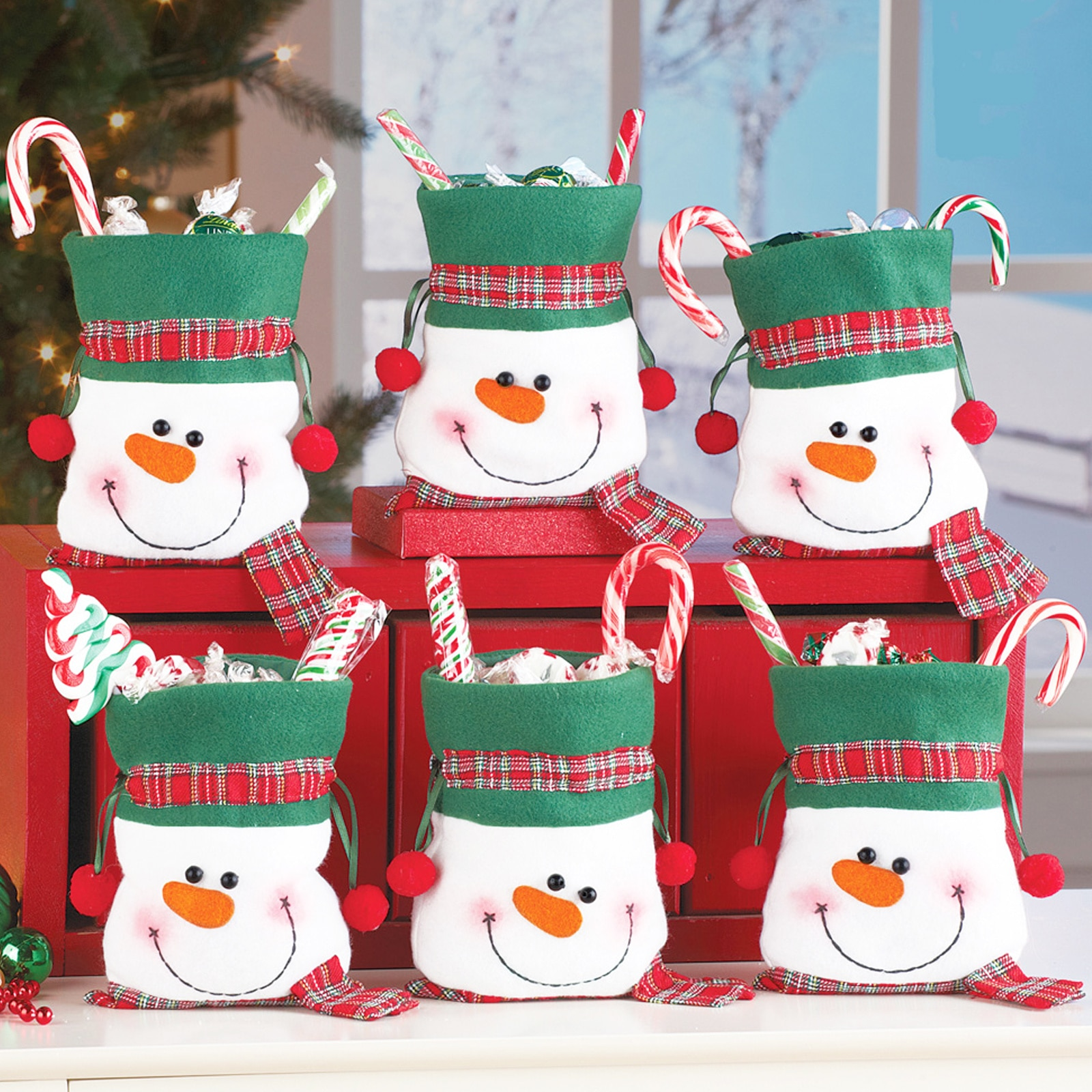 Snowman 25x14cm Christmas Bunch of Candy Bags Christmas Products Children's Gift Bag Holiday Xmas Pa