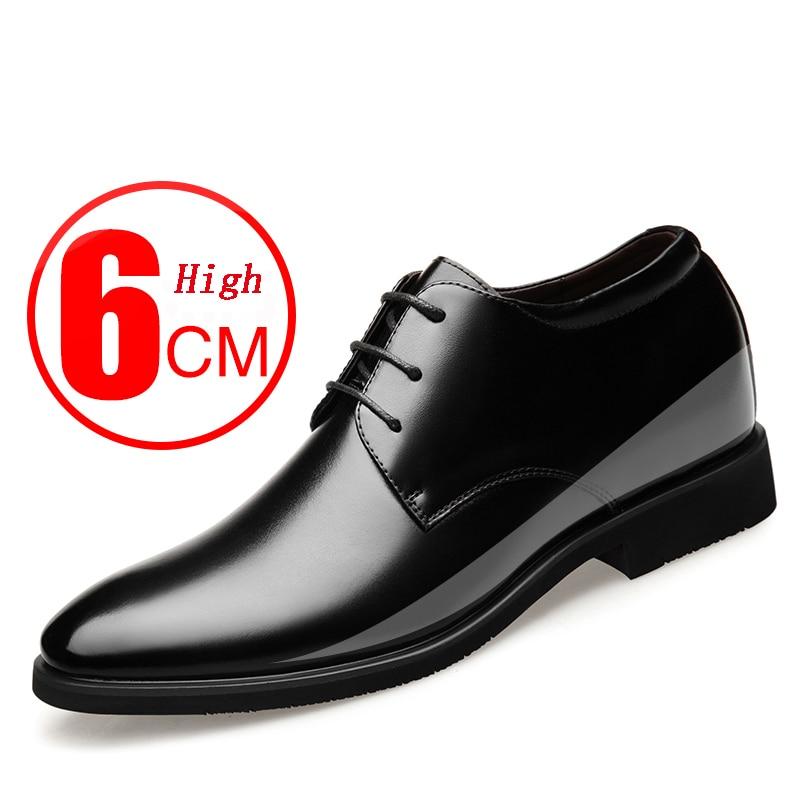 2021 حديثا الرجال جلد البقر أحذية من الجلد حجم 37-43 6 سنتيمتر زيادة Britis الجلود مكتب أحذية رجل الارتفاع أحذية من الجلد