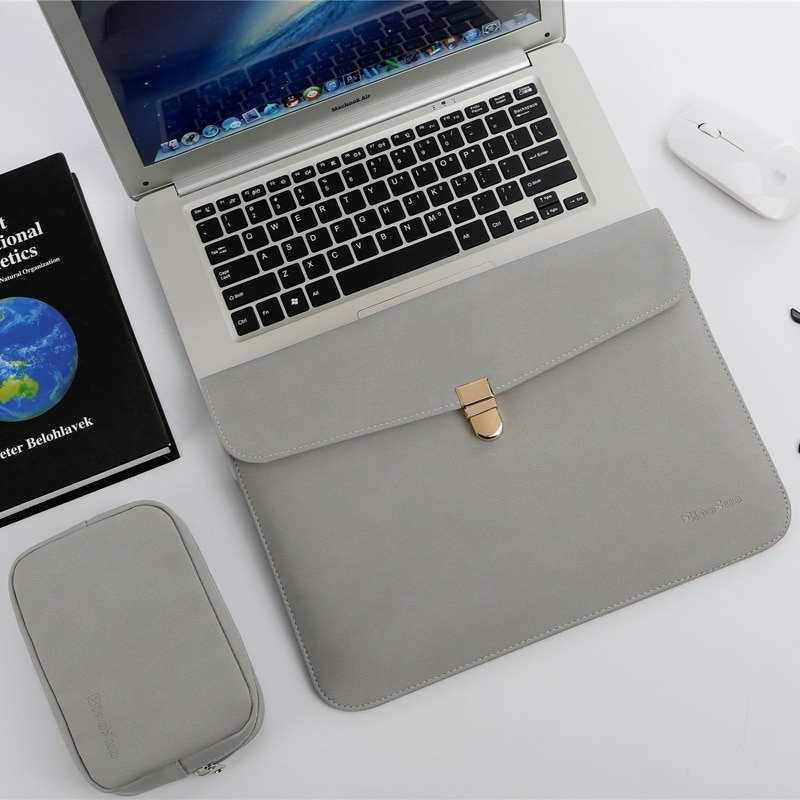 Waterproof PU Luxury Slim 13.3 14 in Notbook Bag Sleeve With Power Pack For Macbook Pro 13 15 Case F