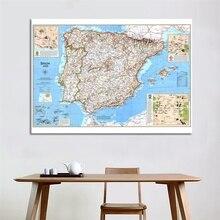 Toile de peinture rétro avec carte partielle de leurope, toile de fond pour Photo, carte de voyage despagne et du Portugal, affiche murale dart