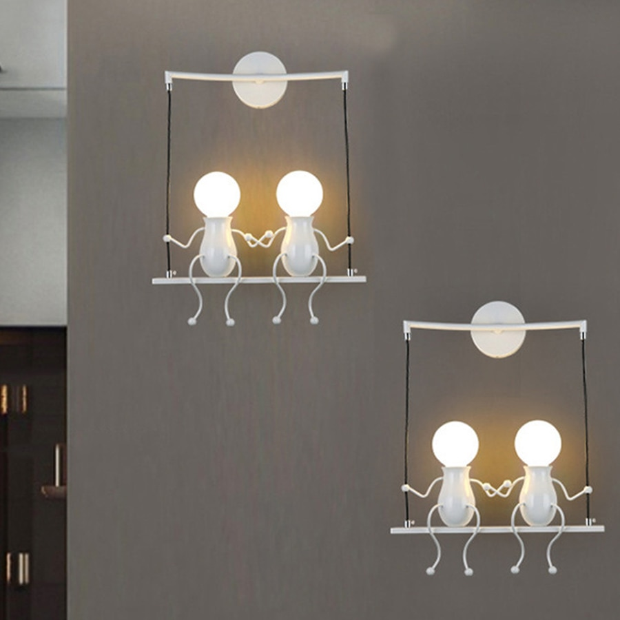 Thrisdar Creative Cartoon LED lámpara de pared E27 personalidad nórdica Robot fondo de pared luz niños lámparas de pared de noche