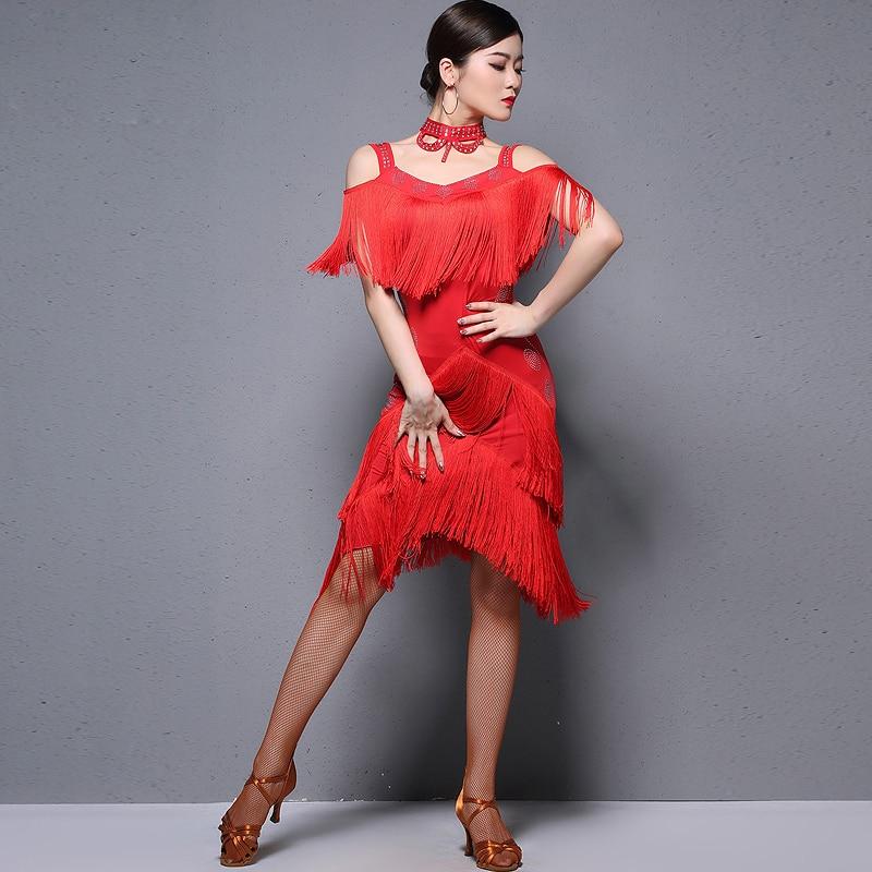 Женская танцевальная одежда, бальный костюм самбы, вечерние платья, эластичная ткань, бахрома, латинское платье, комплект из 3 предметов с ож...